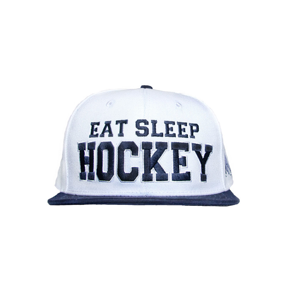 Eat Sleep Hockey Snapback White